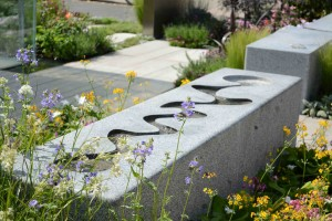 Curved water rill in the RNIB Mind's Eye Garden